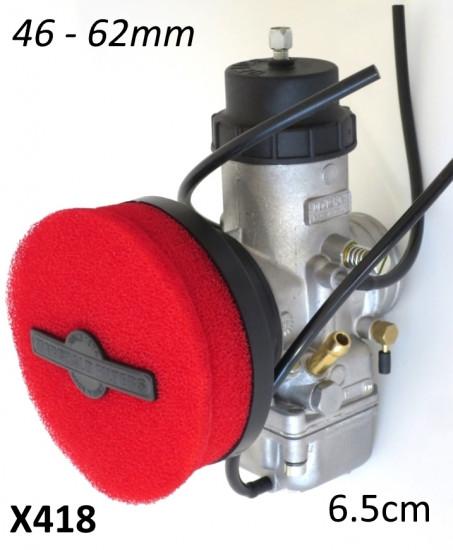 Filtro aria in spugna Marchald, colore rosso, h. 6.5cm, collettore intercambiabile da 46 a 62mm
