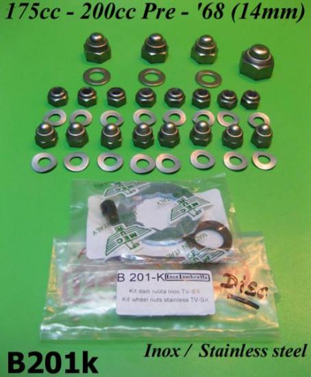 Kit inox 42 pezzi dadi + ranelle per ruote Lambretta S2 - S3 175cc / 200cc pre - '68