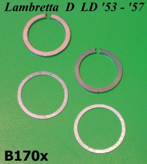 Set 2 x anelli di rasamenti + 2 x seeger per manubrio Lambretta D LD '53 - '57