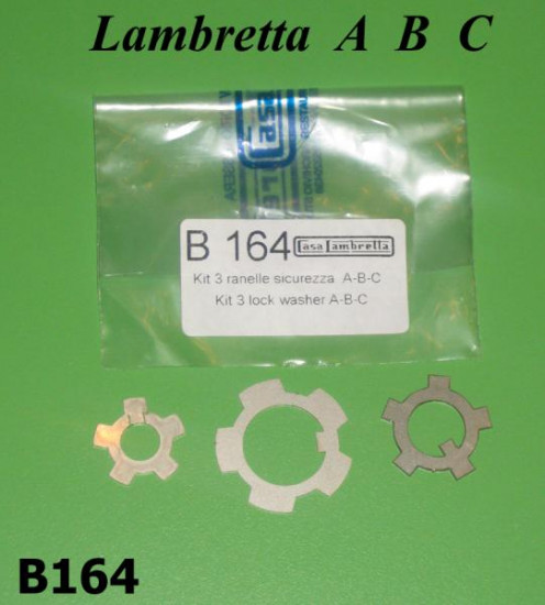 Kit 3 x ranelle blocca dadi motore Lambretta A + B + C + LC