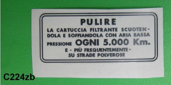 Decalcomania manutenzione filtro aria Lambretta S3 pre - mid '64 (Italiano)
