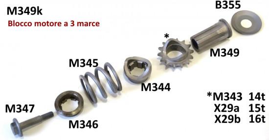 Set parastrappi pignone anteriore completo per Lambretta J + Lui modelli a 3 marce