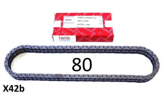 Catena IWIS - 80 maglie - Lambretta S1 + S2 + TV2 + S3 + Special + SX + TV3 + DL + Serveta