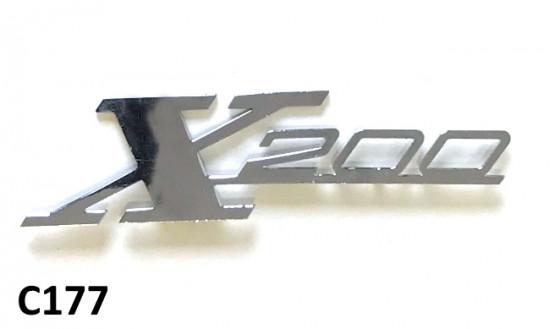 Scritta 'X200' cromata per scudo per Lambretta Special X200