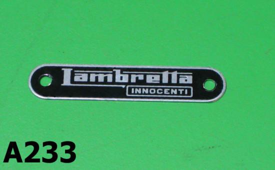 Scritta sella 'Lambretta Innocenti' per Lambretta SX '68 + J50 Deluxe