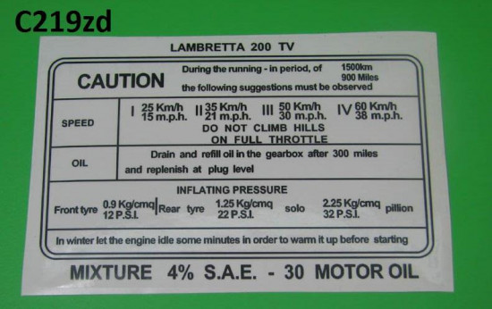 Decalcomania istruzioni rodaggio TV200 (Inglese)