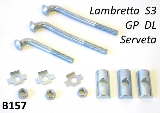 Kit 3 x tiranti per fissaggio bauletto portaoggetti Lambretta S3 DL Serveta SX TV Special