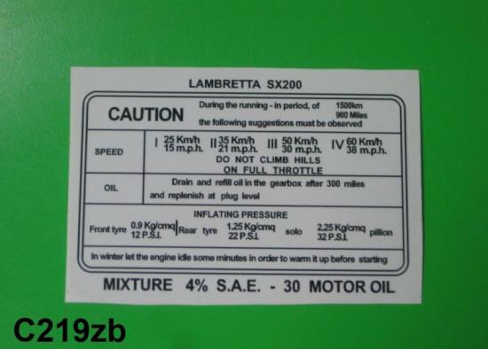 Decalcomania istruzioni rodaggio SX200 (Inglese)