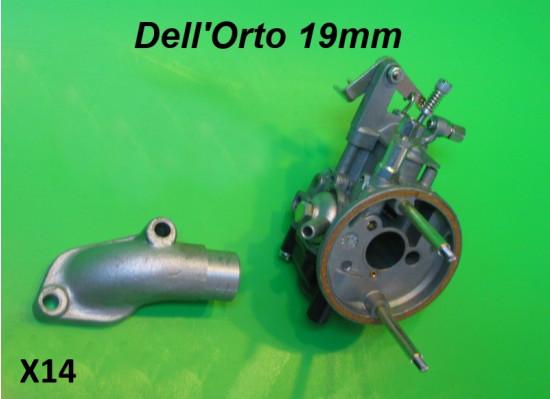 Kit carburatore Dell'Orto SHB 19/19 + collettore aspirazione Lambretta J50 + Cento +  Lui 50/CL