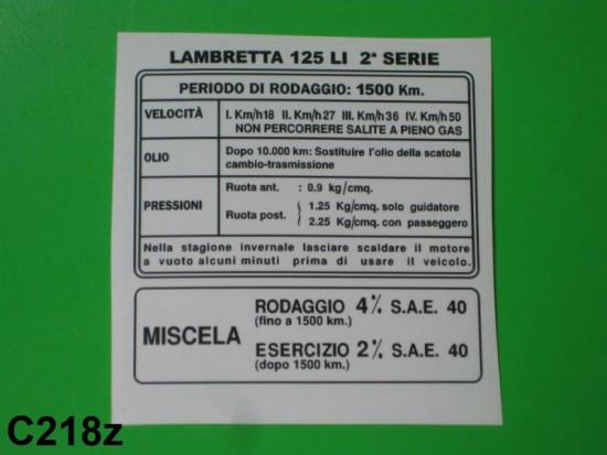 Decalcomania istruzioni rodaggio LI125 S2 (Italiano)