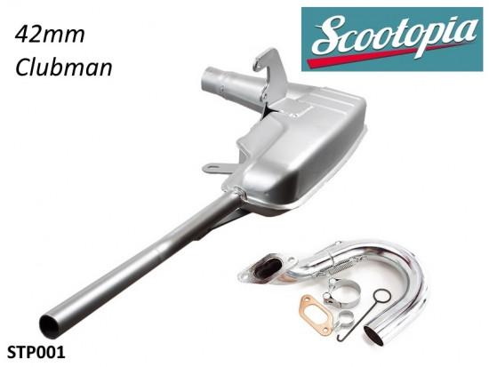 Marmitta Scootopia Clubman 42mm per Lambretta S1 + S2 + TV2 + S3 + Special + TV3 + SX + DL + Serveta