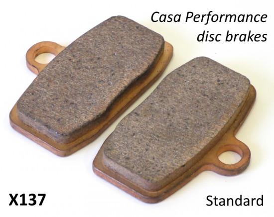 Coppia pastiglie normale per freno a disco idraulico Casa Performance Art. X130 + X142