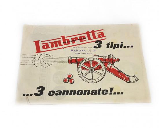 """Brochure originale Lambretta S2 """"3 tipi di cannonate"""""""