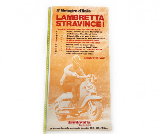 "Poster ""Lambretta stravince"" 8° motogiro d'Italia. NOS"