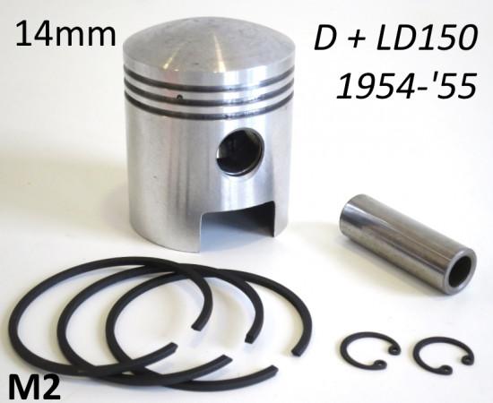Pistone completo spinotto 14mm per Lambretta D + LD 150cc (+ maggiorazioni varie)