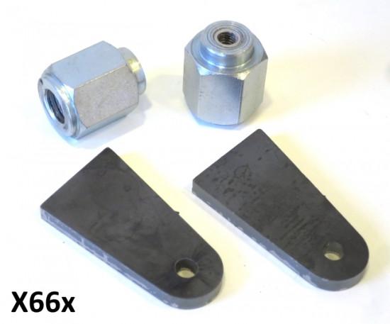 Kit dadi mozzo speciali + coppia staffe in ferro superiori per montaggio ammortizzatori anteriori Lambretta J + Lui