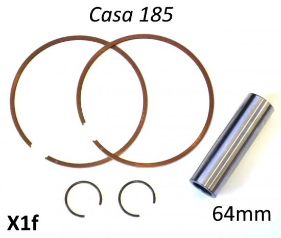 Set 2 x fasce elastiche + spinotto + coppia seeger pistone per kit Casa Lambretta 185cc