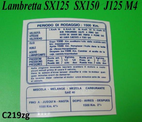 Decalcomania rodaggio blu Lambretta SX125 SX150 (italiano)