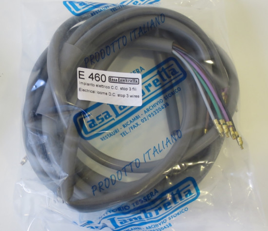 Impianto elettrico per Lambretta S2 LI150 + TV2 175cc (CC / Batteria / stop 3 fili).