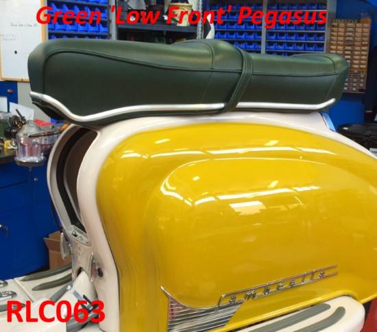 Sella RLC Pegasus Flatbase Verde, Versione BASSA, per Lambretta S1 + S2 + S3 + DL
