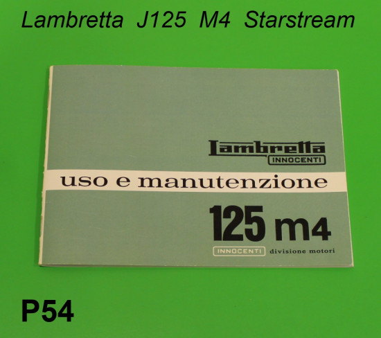 Libretto 'Uso e Manutenzione' Lambretta J125 M4 'Stellina'
