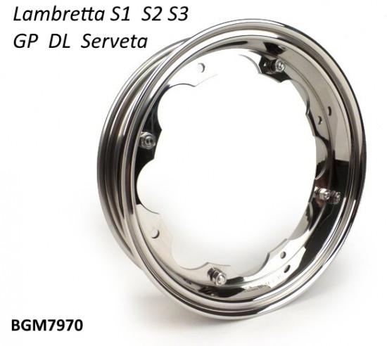 Cerchio ruota BGM Inox Lucidato per Lambretta S1 + S2 + TV2 + S3 +TV3 + Special + SX + DL + Serveta