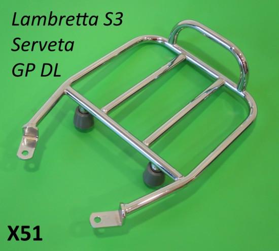 Portapacchi posteriore piccolo per sella lunga / sportiva Lambretta S3 + TV3 + Special + SX + DL