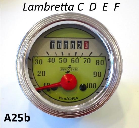 Contachilometri 100kmh per Lambretta C + D + LD + E + F