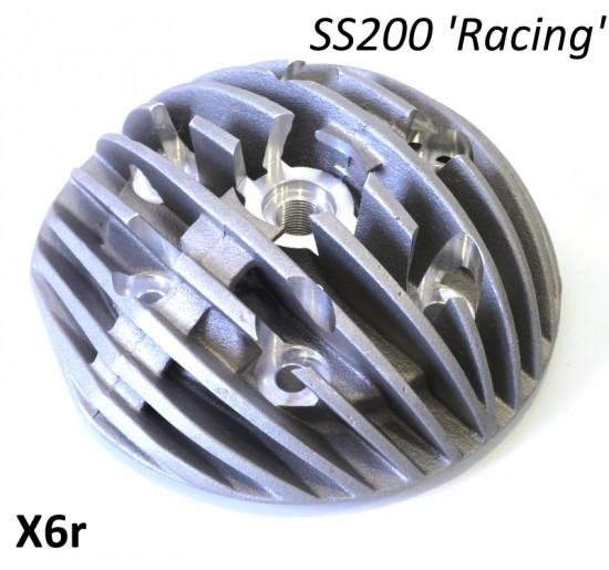 Testa Casa Performance Radiale, candela centrale, per kit cilindro SS200 per Lambretta S1 + S2 + S3 + TV3 + Special + SX + DL + Serveta