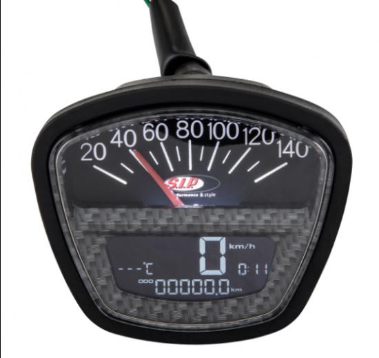 Contachilometri / conta-giri multi funzioni SIP (fondo finto carbonio) Lambretta S3 + SX + DL + Serveta