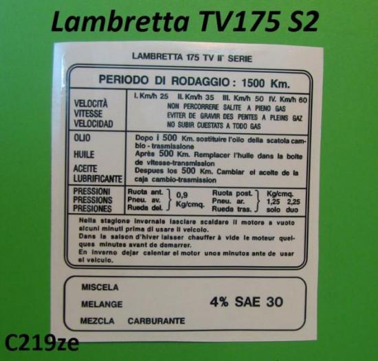 Decalcomania istruzioni rodaggio TV175 S2 (Italiano)