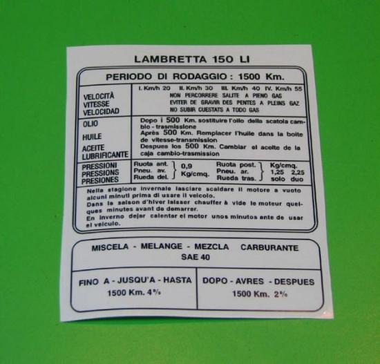 Decalcomania istruzioni rodaggio LI 150 (Italiano)