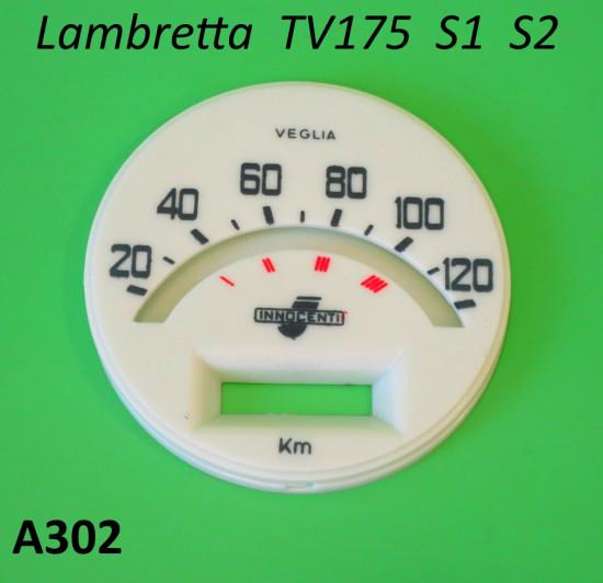 Fondo serigrafato per contachilometri scala 120 Km per Lambretta TV175 S1 S2