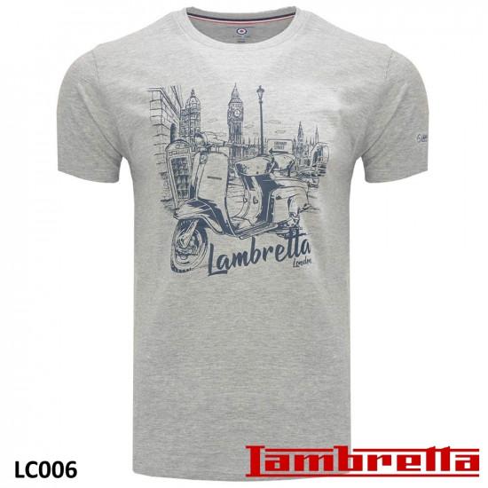 Maglietta originale Lambretta, modello 'London City Scape', colore Grigio Chiaro.