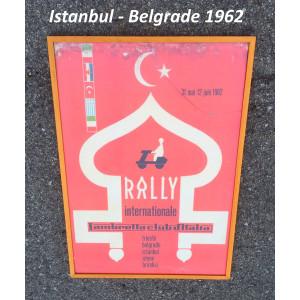Poster + cornice ORIGINALE del raduno Lambretta Club D'Italia ad Istanbul 1962 per concessionari Lambretta