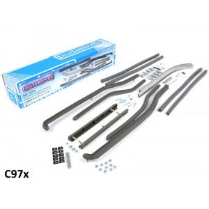 Kit completo listelli pedana ant. + post. Casa Lambretta grigio per Lambretta S3+TV3+SX+Special (tutte le cilindrate)