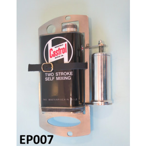 Contenitore + dosatore Castrol di olio 2 tempi per ruota di scorta (nero)