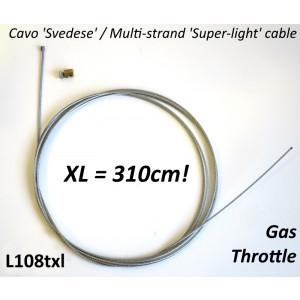 Cavo comando gas XL 310cm in acciaio svedese Universale
