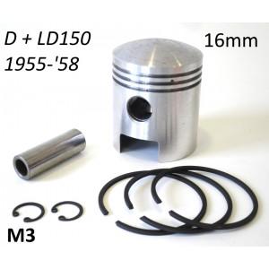 Pistone completo 57mm spinotto 16mm Lambretta D + LD 150cc (+ maggiorazioni varie)