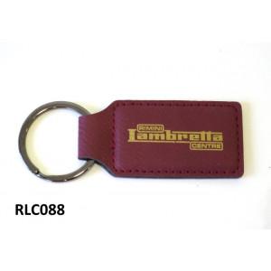 Portachiavi 'Rimini Lambretta Centre' in pelle rosso scuro