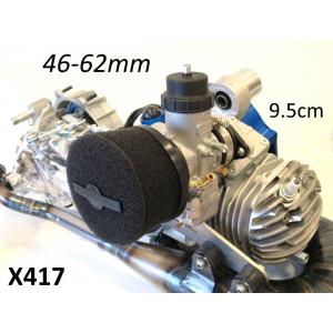 Filtro aria in spugna Marchald colore nero, h. 9.5cm, collettore intercambiabile da 46 a 62mm
