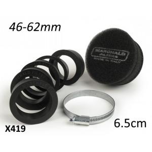 Filtro aria in spugna Marchald, colore nero, h. 6.5cm, collettore intercambiabile da 46 a 62mm