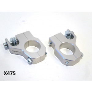 Staffe BGM CNC Argento per ammortizzatori supplementari anteriori Lambretta S1 + S2 + S3 + SX + Special + DL + Serveta