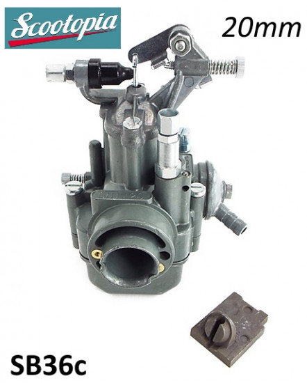 Complete 20mm Dell'Orto SH1 / 20 type carburettor for Lambretta S3 + GP / DL + Serveta