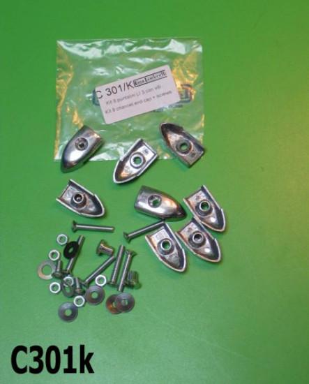 Set of 8 x floor channel endcaps + complete fastener kit