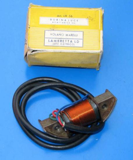 Lighting coil Marelli flywheel. Lambretta LD Avv Electric Start