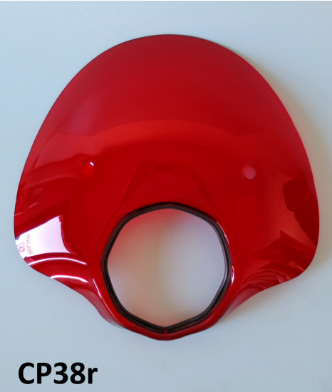 Red 'Bubble' flyscreen for Lambretta SX + TV + GT + Special + Serveta (complete with bracket set)