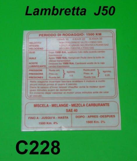Running in sticker for 3 speed Lambretta J50