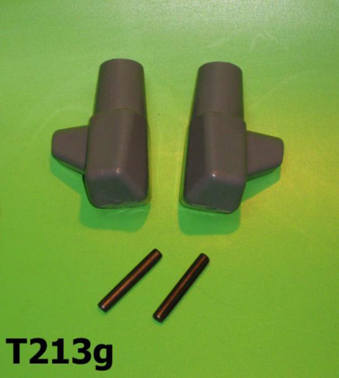 Pair of grey rubber stand feet & pins