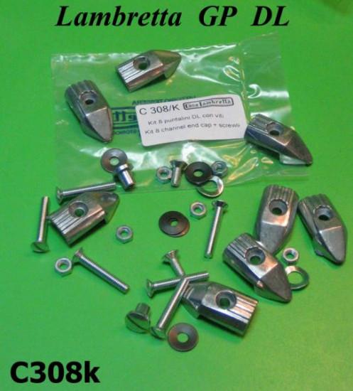 Set of 8 x floor channel endcaps C308 + fasteners kit for Lambretta GP DL